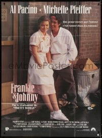 4b845 FRANKIE & JOHNNY French 1p 1991 great close up of Al Pacino & Michelle Pfeiffer!