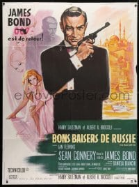 4b849 FROM RUSSIA WITH LOVE French 1p R1980s Grinsson art of Sean Connery as James Bond 007 w/gun!
