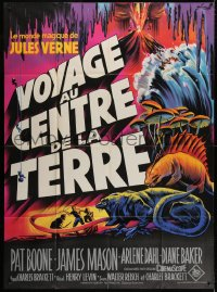 4b869 JOURNEY TO THE CENTER OF THE EARTH French 1p R1960s Jules Verne, different Grinsson art!