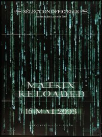 4b896 MATRIX RELOADED teaser French 1p 2003 Wachowski Bros sequel, title over digital text!