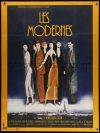 4b904 MODERNS French 1p 1988 Alan Rudolph, cool artwork of trendy 1920's people by Keith Carradine!