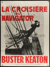 4b911 NAVIGATOR French 1p R1960s great image of Buster Keaton on ship, directed by Donald Crisp!