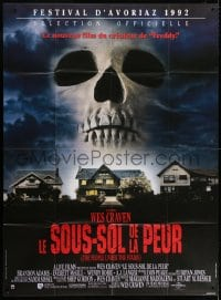 4b920 PEOPLE UNDER THE STAIRS French 1p 1992 Wes Craven, cool image of huge skull looming over house!