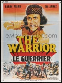 4b989 WARRIOR French 1p 1983 great art of Barry Prime with knife in mouth over epic battle!