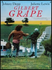 4b991 WHAT'S EATING GILBERT GRAPE French 1p 1994 Johnny Depp chasing Leonardo DiCaprio, different!