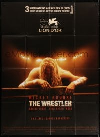 4b996 WRESTLER French 1p 2009 Darren Aronofsky, cool image of Mickey Rourke on the ropes!