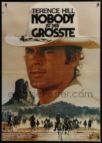 4b156 GENIUS, TWO FRIENDS & AN IDIOT German 33x47 1975 Damiani & Leone, huge c/u of Terence Hill!