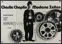 4b164 MODERN TIMES German 33x47 R1963 classic Charlie Chaplin, great image with giant gears!