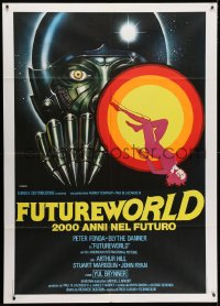 4b242 FUTUREWORLD Italian 1p 1977 really cool completely different artwork by Renato Casaro!