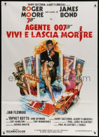 4b259 LIVE & LET DIE Italian 1p R1970s McGinnis art of Moore as James Bond & sexy tarot cards!