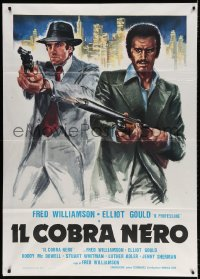 4b263 MEAN JOHNNY BARROWS Italian 1p 1980 different art of Elliott Gould & Fred Williamson, rare!