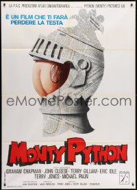 4b265 MONTY PYTHON & THE HOLY GRAIL Italian 1p 1976 wacky different knight art, ultra rare!