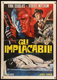 4b267 OUT OF THE PAST Italian 1p R1960s different art of Robert Mitchum & Kirk Douglas by Tarantelli