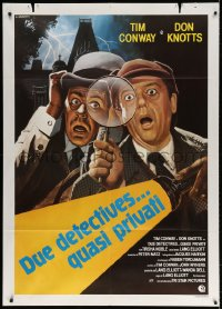 4b270 PRIVATE EYES Italian 1p 1981 different Luca art of Tim Conway & Don Knotts w/magnifying glass!