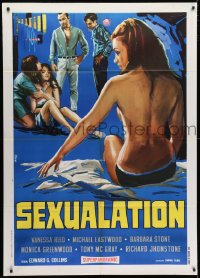 4b272 SEXUALATION Italian 1p 1968 Tino Avelli art of sexy topless woman sitting on bed, rare!