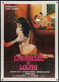 4b273 SHE'S SEVENTEEN & ANXIOUS Italian 1p 1978 art of sexy naked Nieves Navarro as Emanuelle!