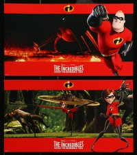 4b023 INCREDIBLES 8 10x17 LCs 2004 Disney/Pixar animated superhero family, cool widescreen images!