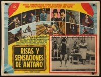 4b178 DAYS OF THRILLS & LAUGHTER Mexican LC 1962 Charlie Chaplin swimming, cool train chase art!
