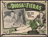 4b184 JUNGLE GODDESS Mexican LC 1948 great portrait of George Reeves & Wanda McKay + border art!