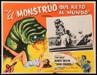 4b190 MONSTER THAT CHALLENGED THE WORLD Mexican LC 1957 cool art & photo of creature attacking!