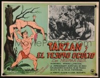 4b192 NEW ADVENTURES OF TARZAN Mexican LC 1940s art of Herman Brix throwing native, jungle serial!