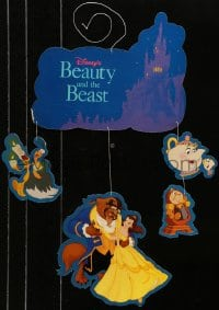 4b033 BEAUTY & THE BEAST 14x27 mobile 1991 Walt Disney cartoon classic, in multiple pieces!