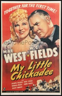 4b010 MY LITTLE CHICKADEE 11x17 REPRO poster 1940 wonderful art of W.C. Fields & sexy Mae West!