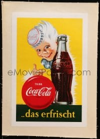 4b168 COCA-COLA linen 9x14 German advertising poster 1960s art of child w/bottle cap hat by Coke!