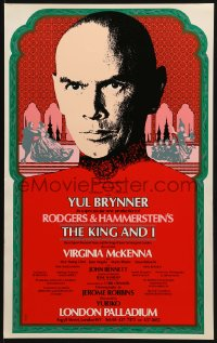 4b104 KING & I 13x21 English stage poster 1977 Yul Brynner in the London Palladium production!
