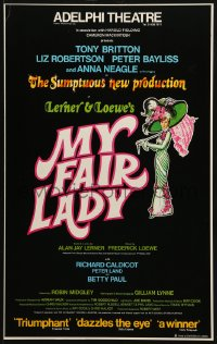 4b105 MY FAIR LADY 13x20 English stage poster 1979 Anna Neagle, George Bernard Shaw's story!