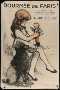 4b029 JOURNEE DE PARIS 31x47 French WWI war poster 1917 Poulbot art of girl w/ toy soldier & dog!