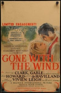 4b479 GONE WITH THE WIND WC 1940 art of Clark Gable & Vivien Leigh, nothing cut, full length, rare!