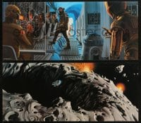 4b015 EMPIRE STRIKES BACK two print promo pack 1979 w/2 art prints & metal Darth Vader emblem!
