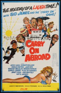 4c280 CARRY ON ABROAD Aust 1sh 1972 Sidney James, Kenneth Williams, sexy completely different art!