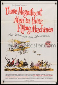4c295 THOSE MAGNIFICENT MEN IN THEIR FLYING MACHINES Aust 1sh 1965 great Searle art of early airplane!