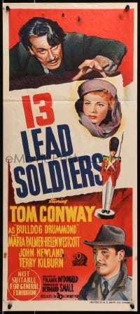4c297 13 LEAD SOLDIERS Aust daybill 1948 Tom Conway as detective Bulldog Drummond, Maria Palmer!