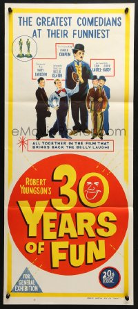 4c302 30 YEARS OF FUN Aust daybill 1963 Charley Chase, Buster Keaton, Laurel & Hardy!
