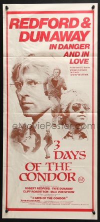 4c301 3 DAYS OF THE CONDOR Aust daybill 1975 CIA analyst Robert Redford & Faye Dunaway in danger!