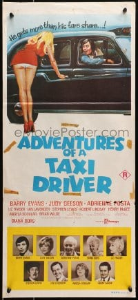 4c307 ADVENTURES OF A TAXI DRIVER Aust daybill 1976 Barry Evans, Judy Geeson, sexy wacky artwork!