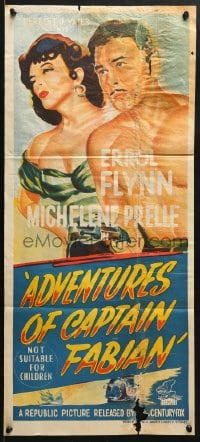 4c308 ADVENTURES OF CAPTAIN FABIAN Aust daybill 1953 art of barechested Errol Flynn & sexy Micheline Presle!