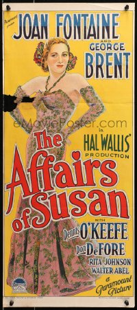 4c312 AFFAIRS OF SUSAN Aust daybill 1945 Richardson Studio art of Joan Fontaine in great dress!