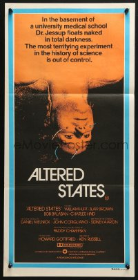 4c320 ALTERED STATES Aust daybill 1980 William Hurt, Paddy Chayefsky, Ken Russell, sci-fi horror!