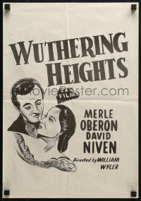 4c276 WUTHERING HEIGHTS Aust special poster R1950s art of Laurence Olivier & Merle Oberon!