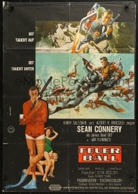 4c252 THUNDERBALL German 1965 Sean Connery as James Bond 007 by Robert McGinnis & Frank McCarthy!