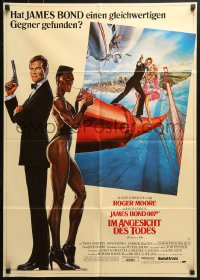 4c254 VIEW TO A KILL German 1985 art of Roger Moore as Bond & smoking Grace Jones by Goozee!