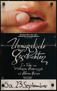 4c265 IMMORAL TALES German 12x19 1976 Contes Immoraux, finger on lips, daughter of Pablo Picasso!