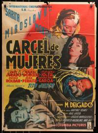 4c034 CARCEL DE MUJERES Mexican poster 1951 great art of catfight between female inmates!