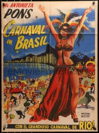 4c035 CARNAVAL ATLANTIDA Mexican poster 1952 art of sexy Brazilian girl in Rio carnival outfit