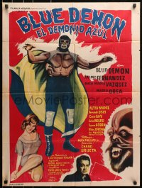 4c037 DEMONIO AZUL Mexican poster 1965 wonderful art of Mexican masked wrestler Blue Demon!