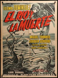 4c038 EL RIO Y LA MUERTE Mexican poster 1954 Luis Bunuel, cool art of Death looming over river!